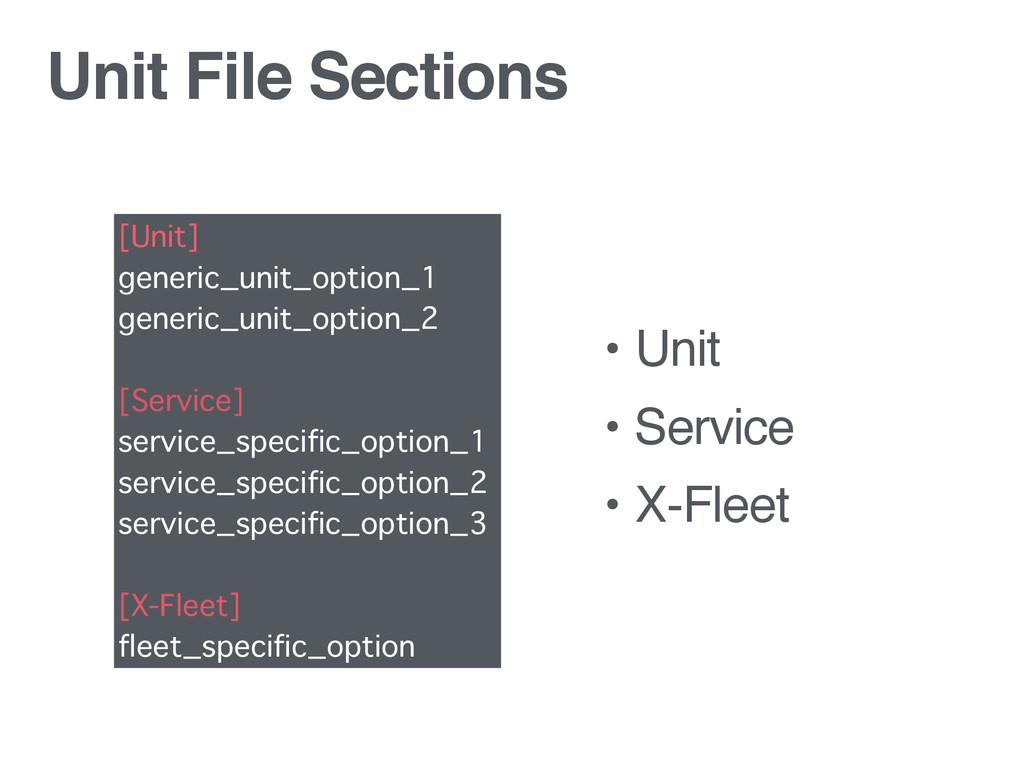 Unit File Sections • Unit • Service • X-Fleet [...