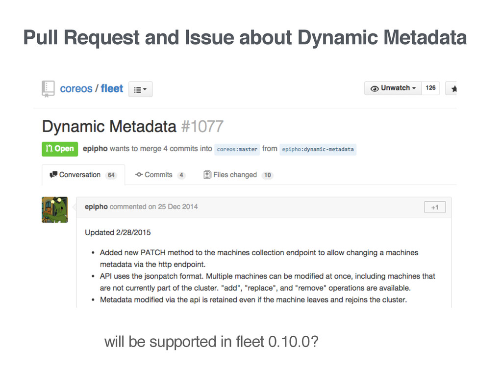 Pull Request and Issue about Dynamic Metadata w...