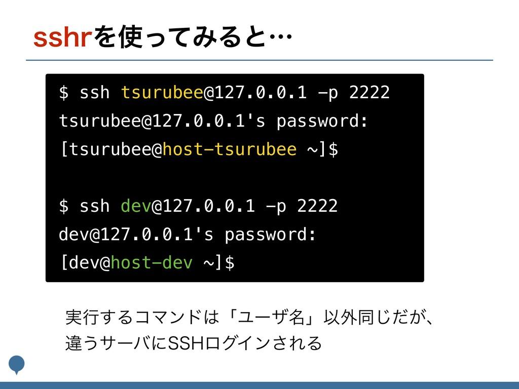 TTISΛͬͯΈΔͱʜ $ ssh tsurubee@127.0.0.1 -p 2222 t...