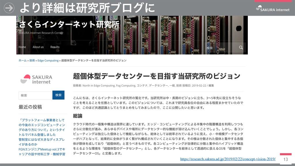 13 ΑΓৄࡉݚڀॴϒϩάʹ https://research.sakura.ad.jp/2...