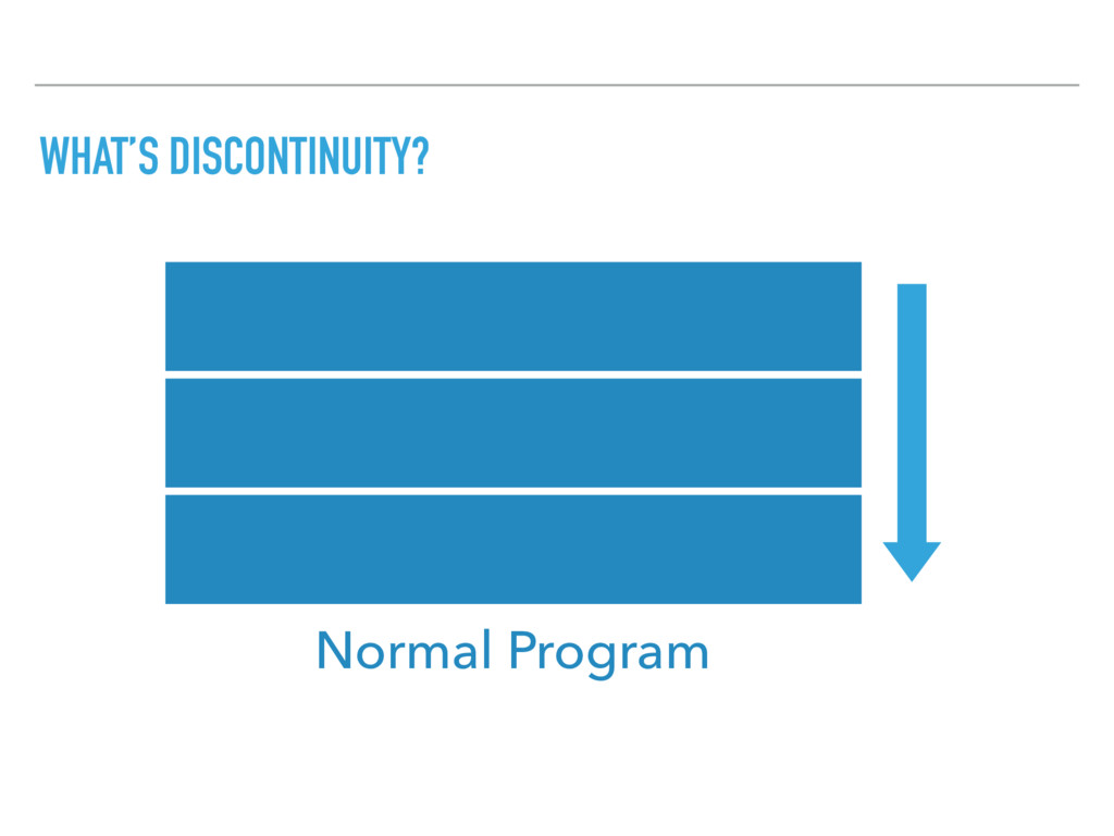 WHAT'S DISCONTINUITY? Normal Program