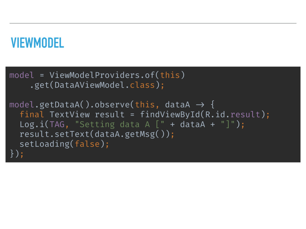 VIEWMODEL model = ViewModelProviders.of(this) ....