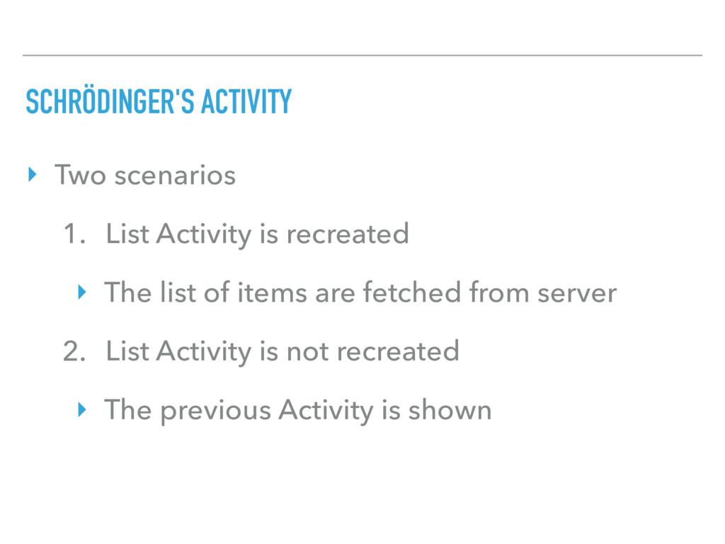 SCHRÖDINGER'S ACTIVITY ‣ Two scenarios 1. List ...