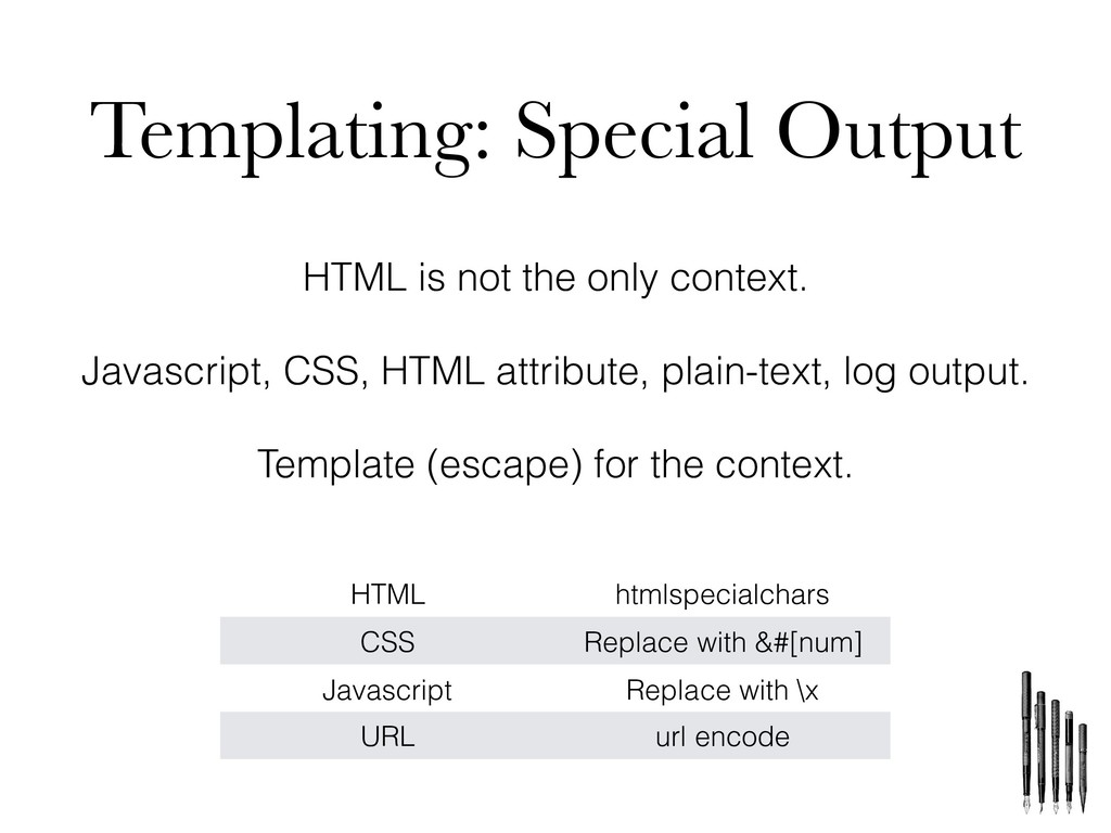 Templating: Special Output HTML is not the only...