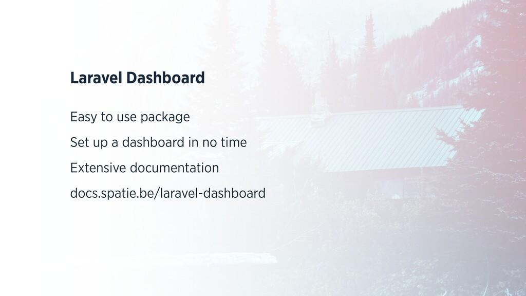 Laravel Dashboard   Easy to use package   Set u...