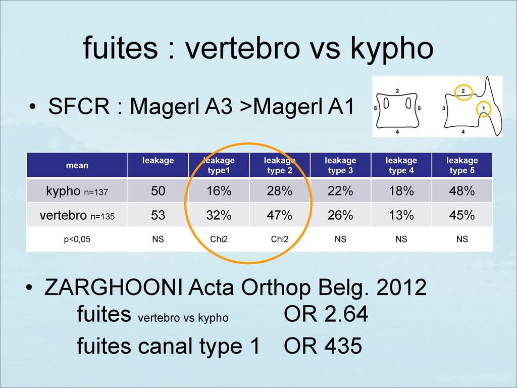 fuites : vertebro vs kypho • SFCR : Magerl A3 >...