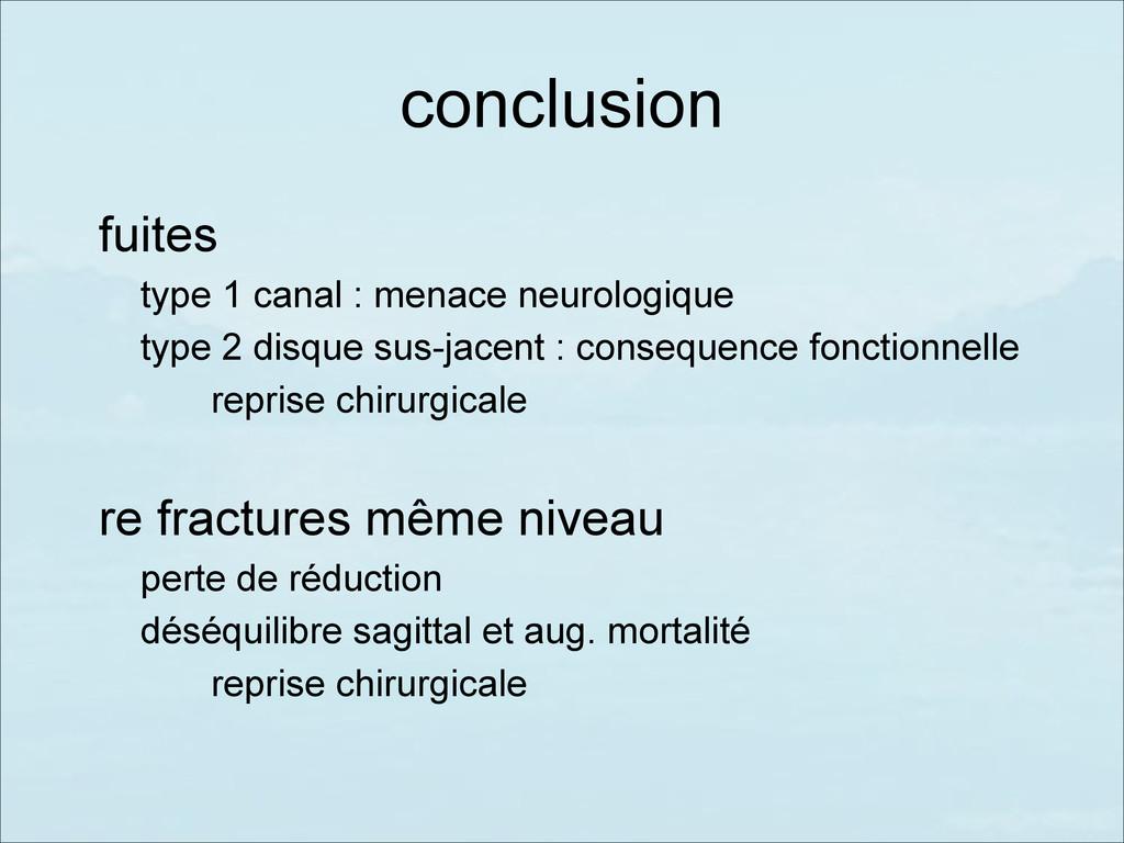 conclusion fuites type 1 canal : menace neurolo...