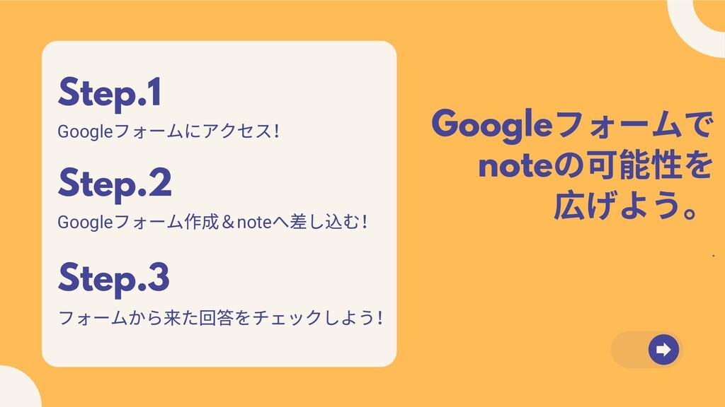 Google フォームで note の可能性を 広げよう。 . Step.2 Google フ...