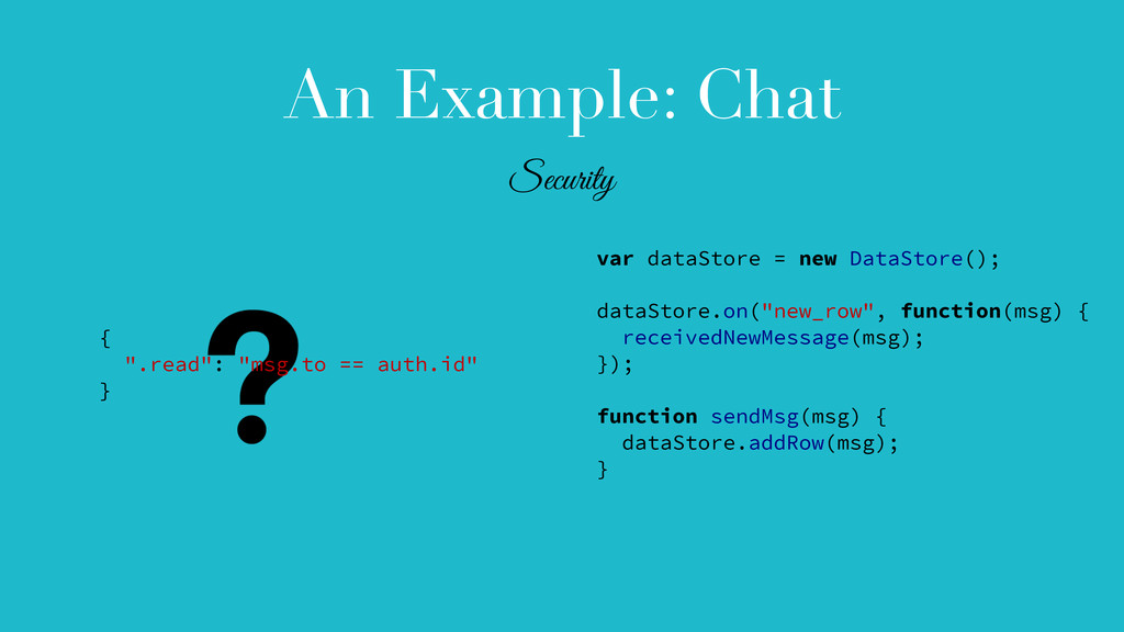 An Example: Chat var dataStore = new DataStore(...