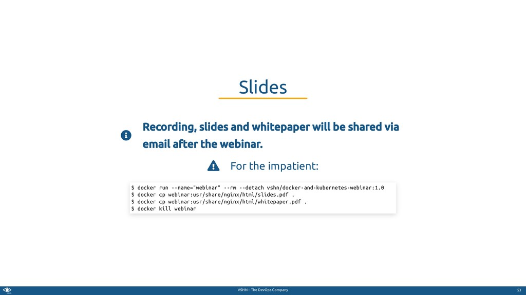 VSHN – The DevOps Company  Recording, slides a...
