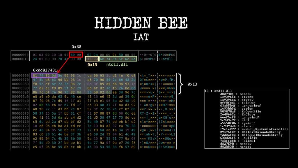 0x60 0x0d827481 0x13 HIDDEN BEE IAT ntdll.dll 0...
