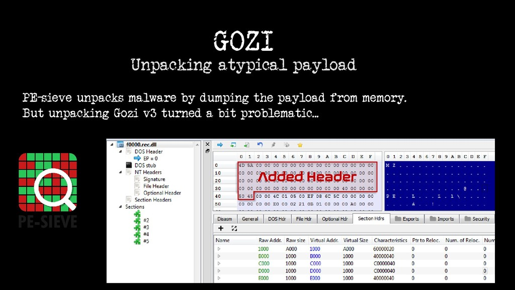 GOZI Unpacking atypical payload Added Header PE...