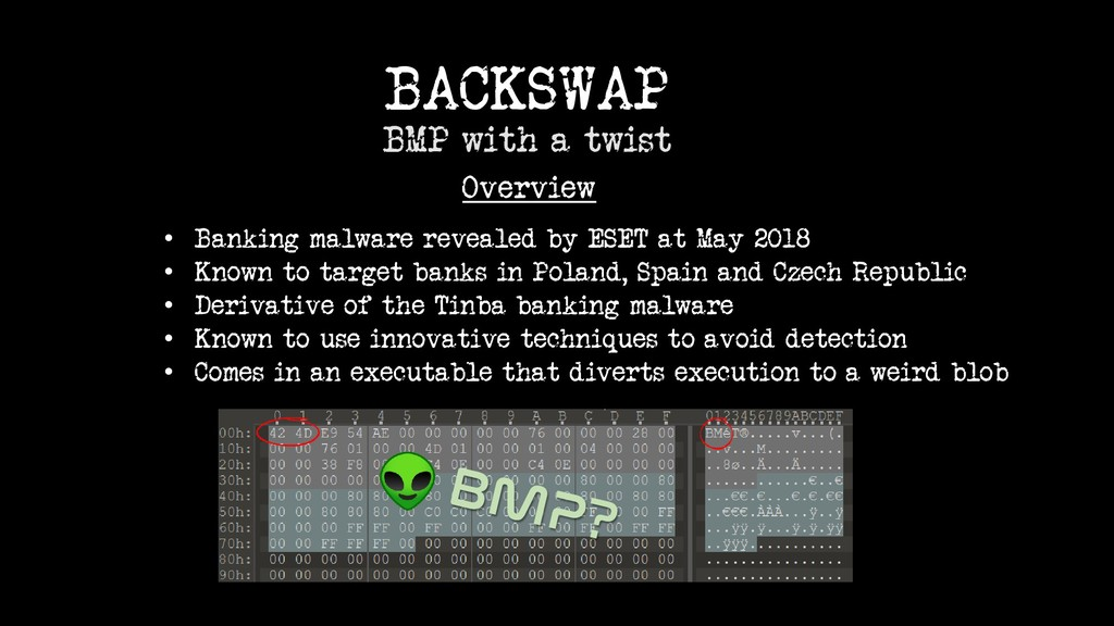 BACKSWAP BMP with a twist Overview • Banking ma...