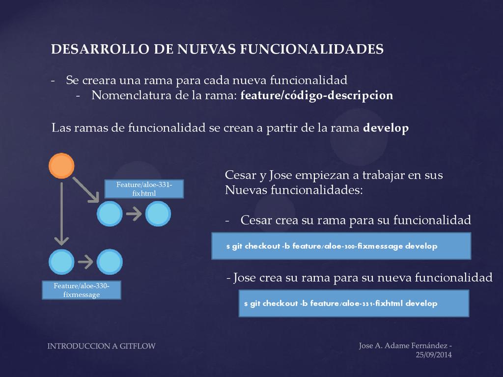 DESARROLLO DE NUEVAS FUNCIONALIDADES - Se crear...