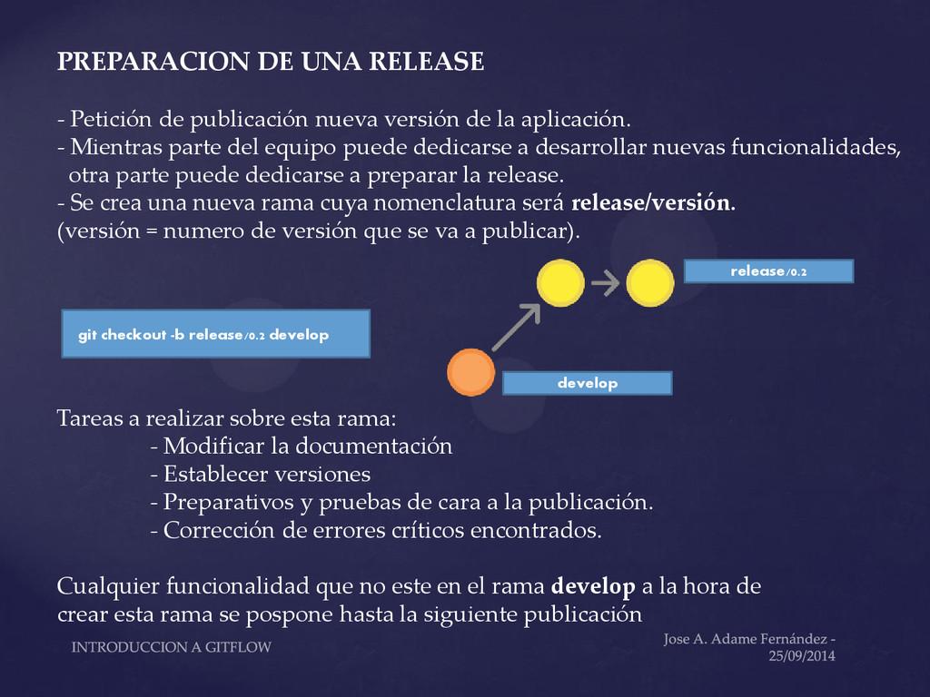 PREPARACION DE UNA RELEASE - Petición de public...