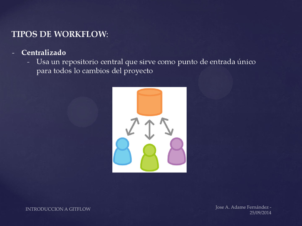 TIPOS DE WORKFLOW: - Centralizado - Usa un repo...