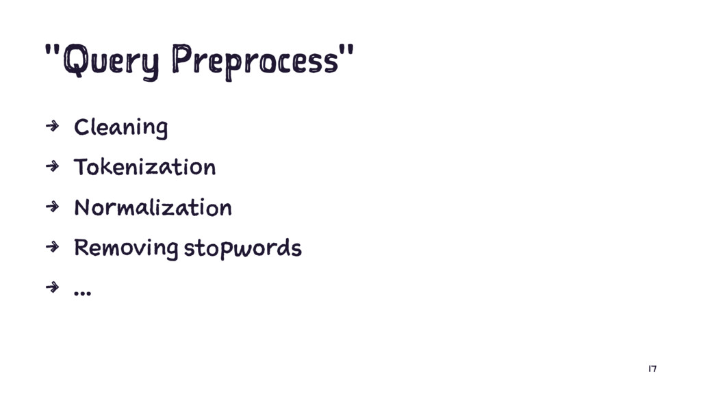 """""""Query Preprocess"""" 4 Cleaning 4 Tokenization 4 ..."""