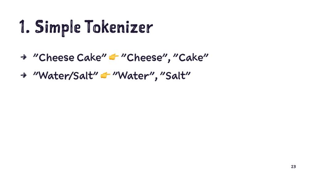 """1. Simple Tokenizer 4 """"Cheese Cake"""" ! """"Cheese"""",..."""