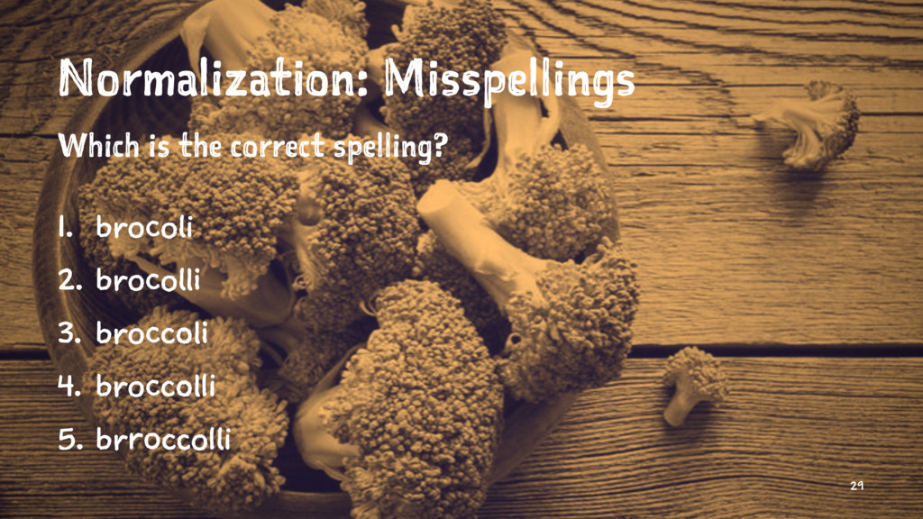 Normalization: Misspellings Which is the correc...
