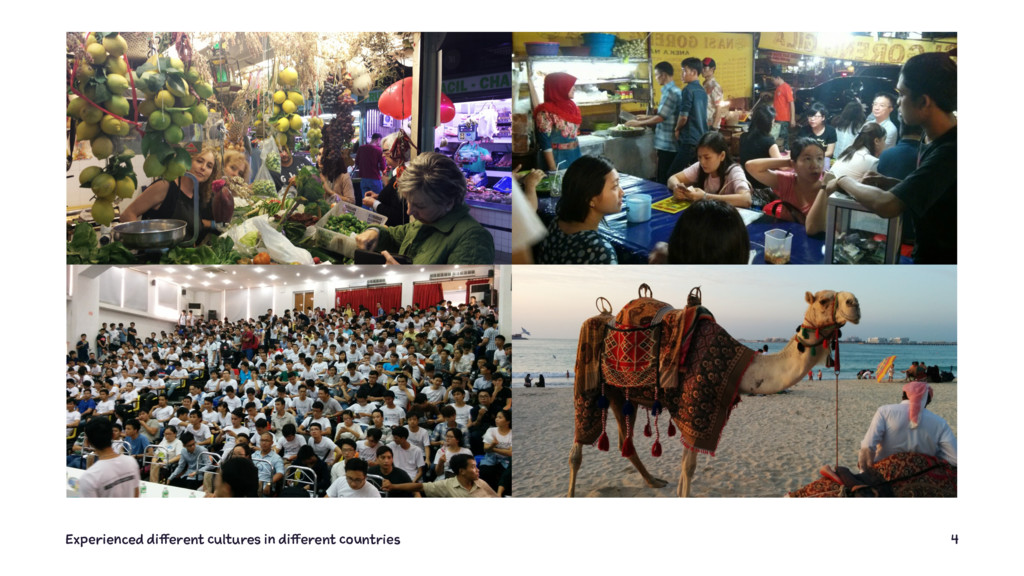 Experienced different cultures in different cou...