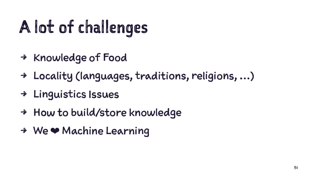 A lot of challenges 4 Knowledge of Food 4 Local...