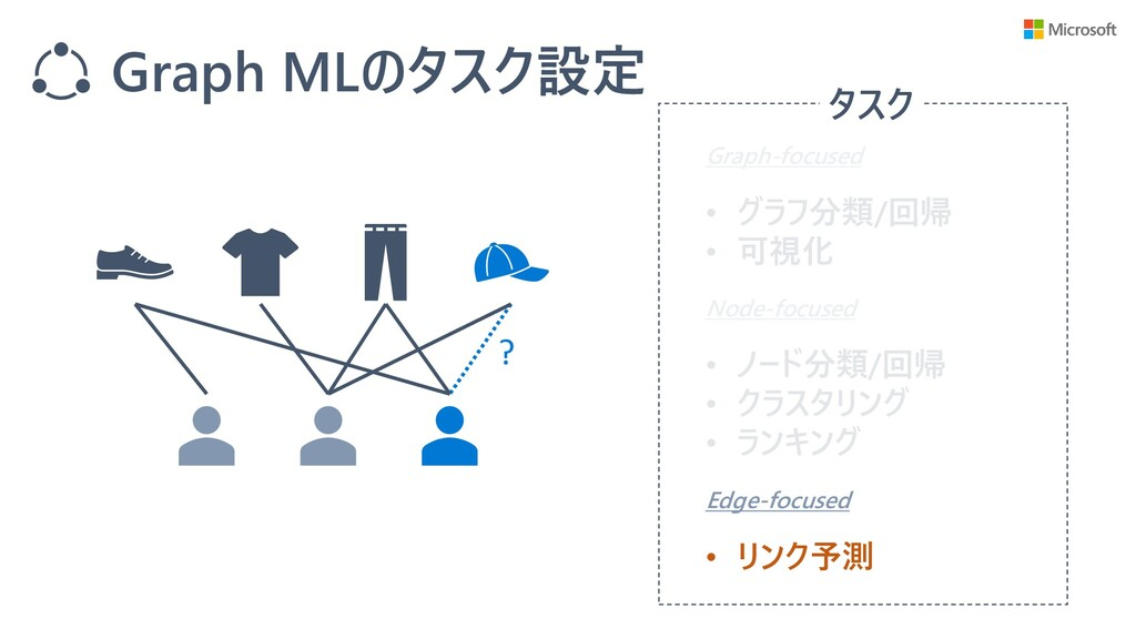 Graph MLのタスク設定 タスク Graph-focused Node-focused E...