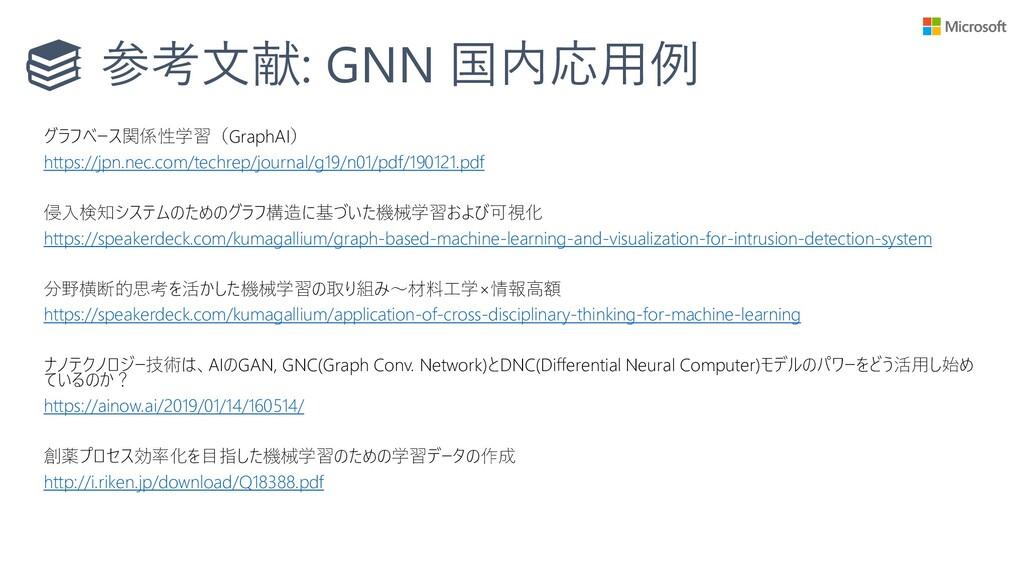参考文献: GNN 国内応用例 グラフベース関係性学習(GraphAI) https://jp...