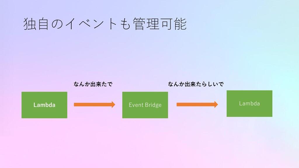 独自のイベントも管理可能 Lambda Lambda なんか出来たで Event Bridge...