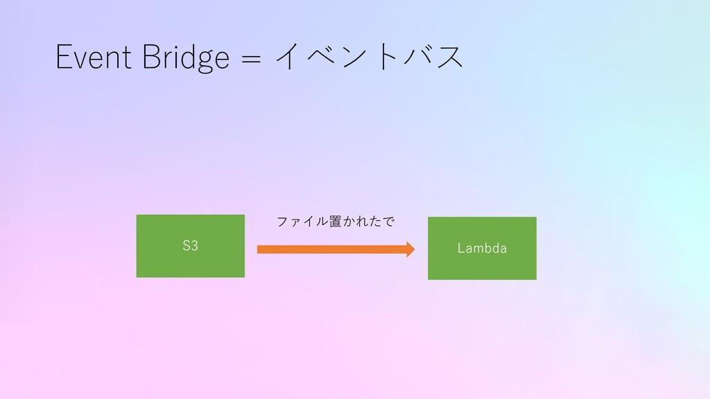 Event Bridge = イベントバス S3 Lambda ファイル置かれたで