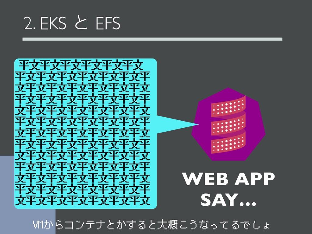 2. EKS ͱ EFS WEB APP SAY… 平文平文平文平文平文平文 平文平文平文平文...