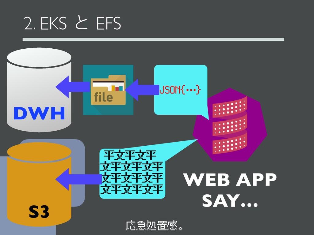 2. EKS ͱ EFS WEB APP SAY… JSON{…} DWH 平文平文平 文平文...