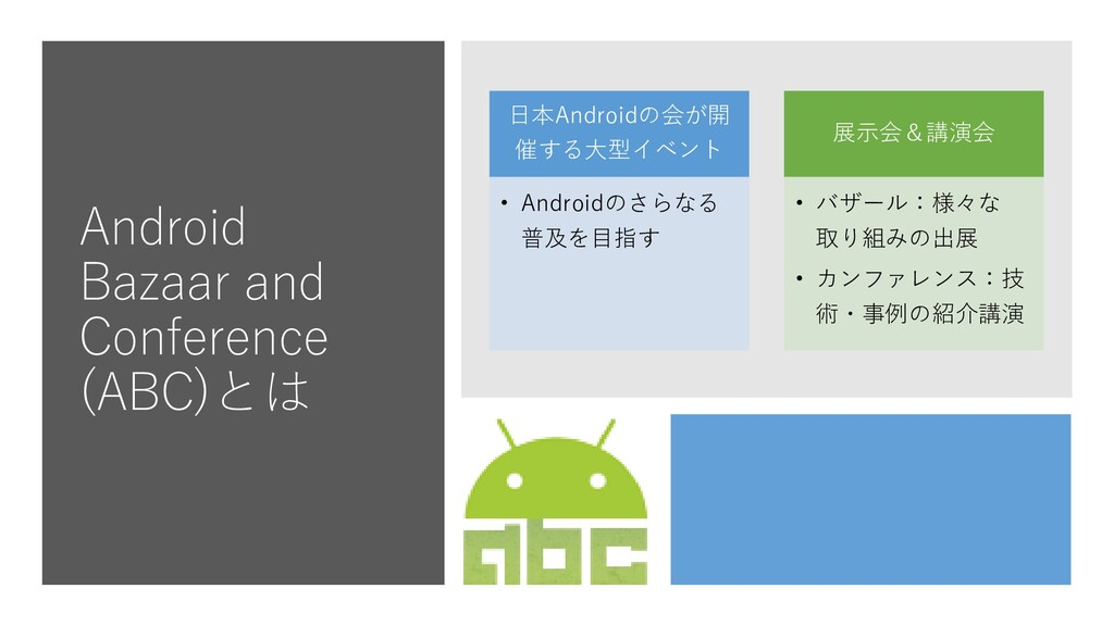 Android Bazaar and Conference (ABC)とは 日本Android...