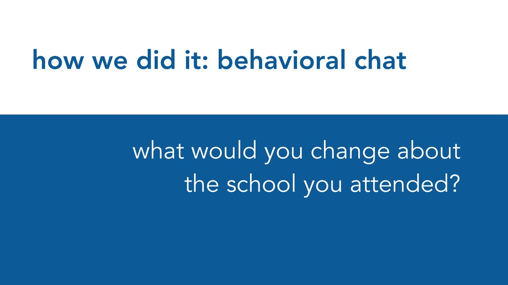 how we did it: behavioral chat what would you c...