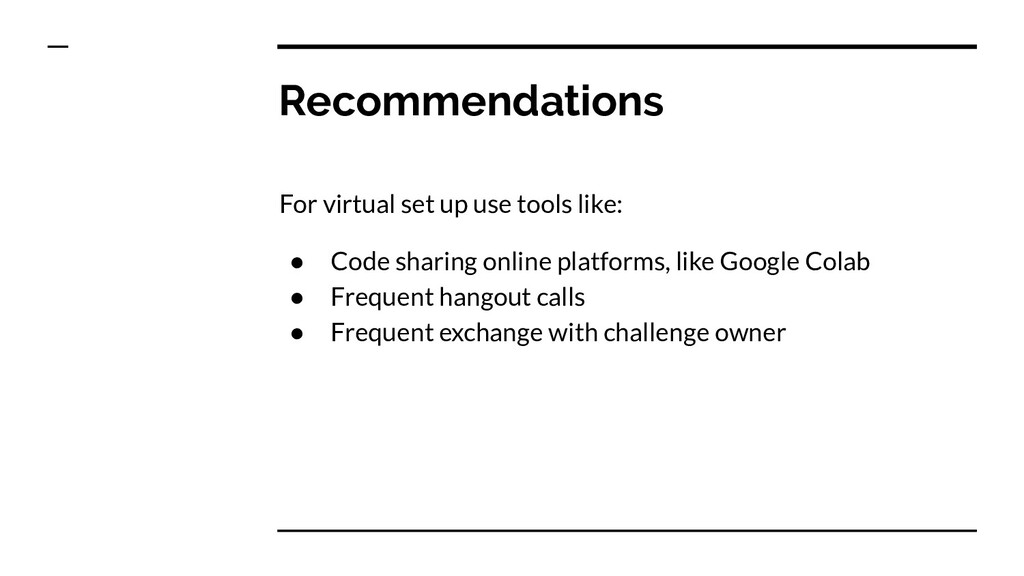 Recommendations For virtual set up use tools li...