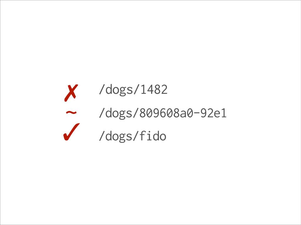 /dogs/1482 /dogs/809608a0-92e1 /dogs/fido ✓ ~ ✗