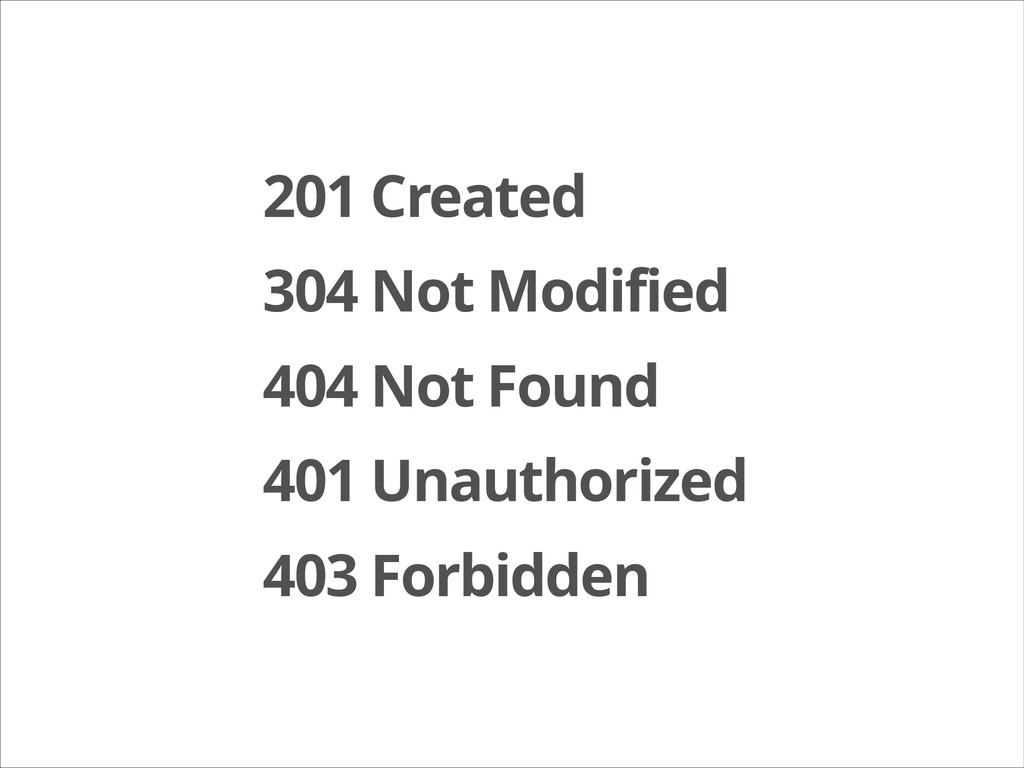 201 Created 304 Not Modified 404 Not Found 401 ...
