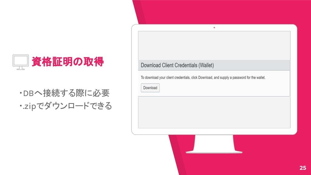 Place your screenshot here 資格証明の取得 ・DBへ接続する際に必要...