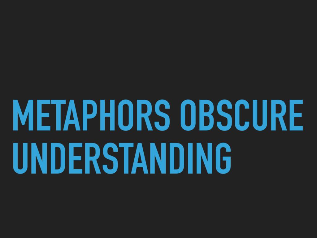 METAPHORS OBSCURE UNDERSTANDING