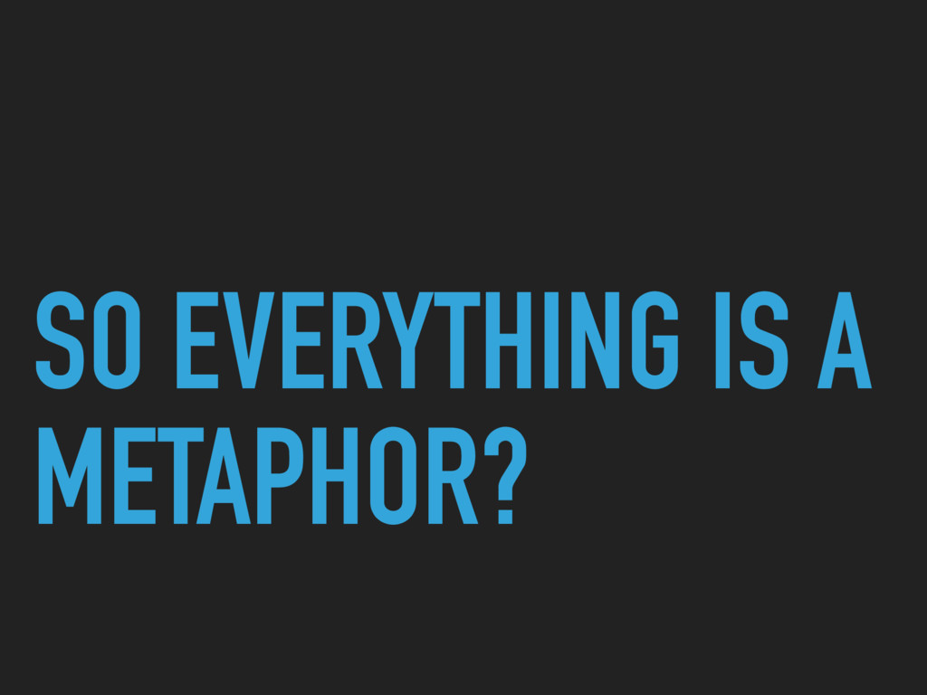 SO EVERYTHING IS A METAPHOR?