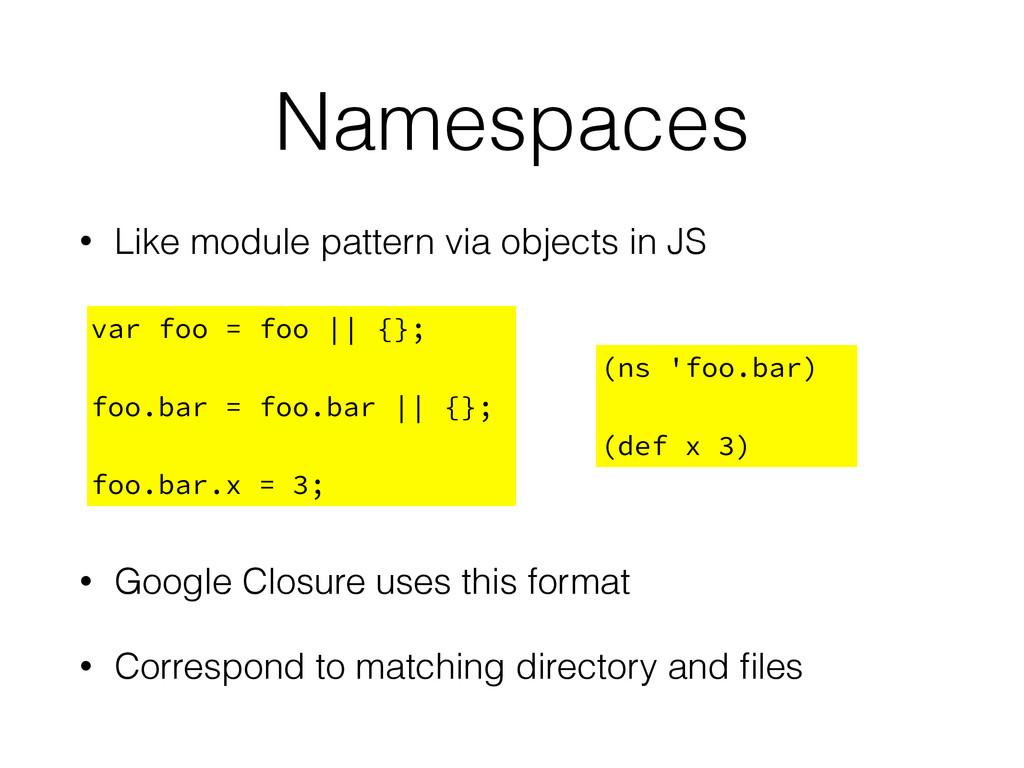 Namespaces • Like module pattern via objects in...