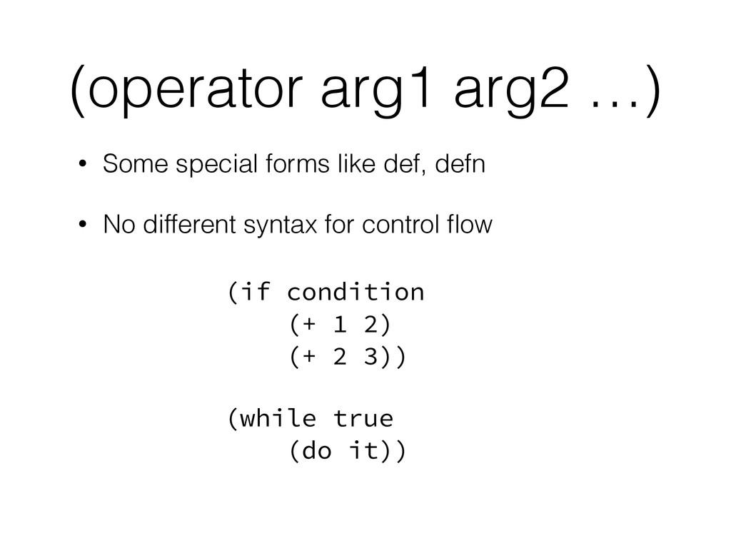 (operator arg1 arg2 …) • Some special forms lik...