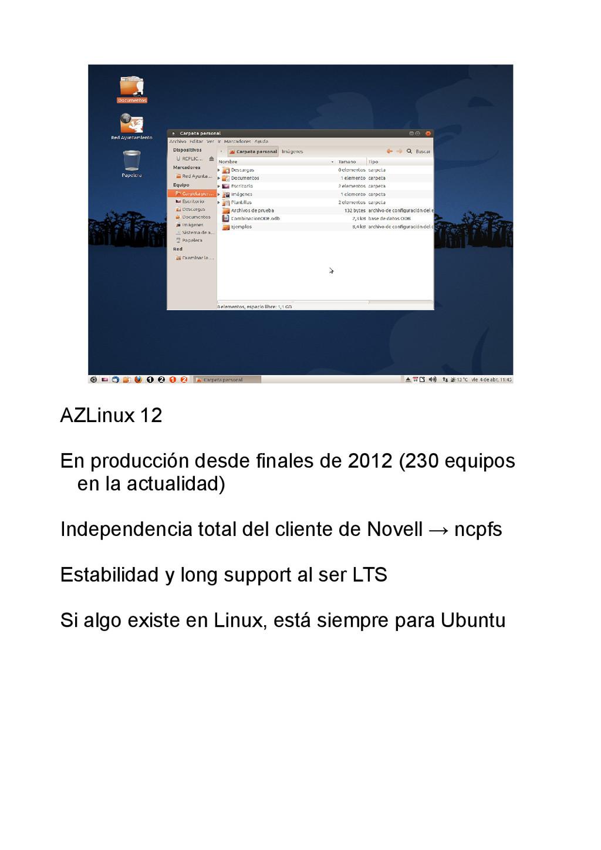 AZLinux 12 En producción desde finales de 2012 ...