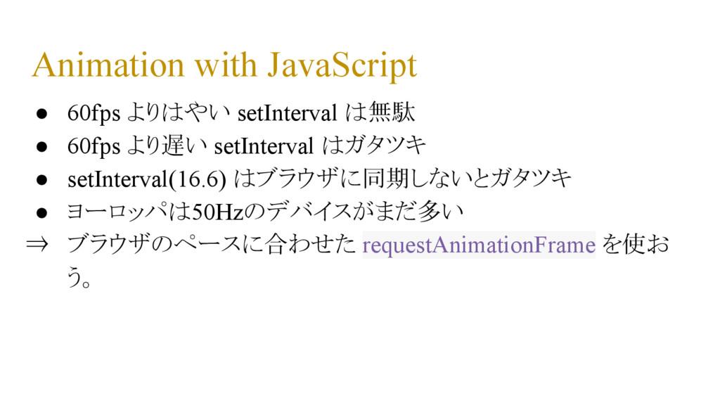 Animation with JavaScript ● 60fps よりはやい setInte...