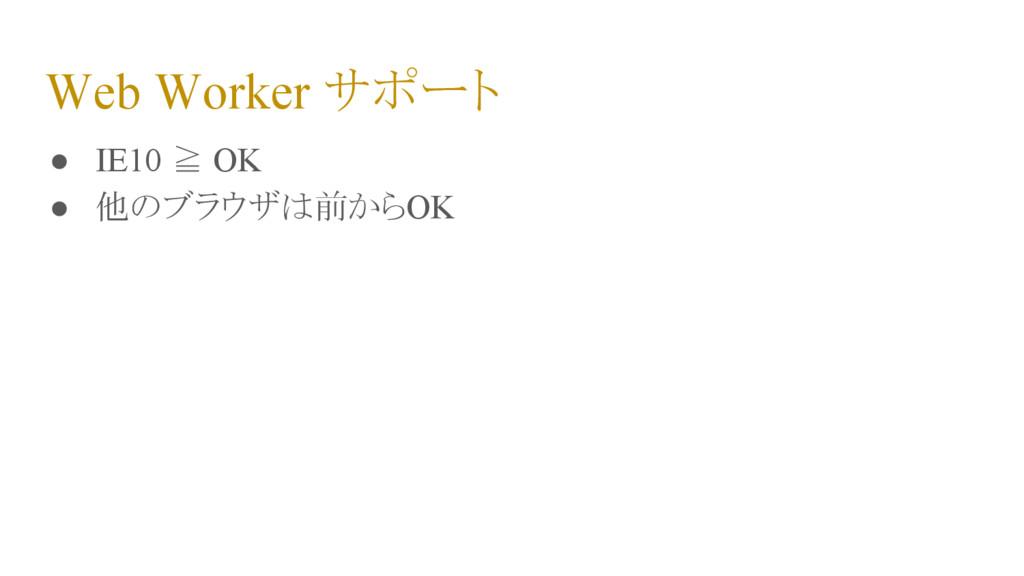 Web Worker サポート ● IE10 ≧ OK ● 他のブラウザは前からOK