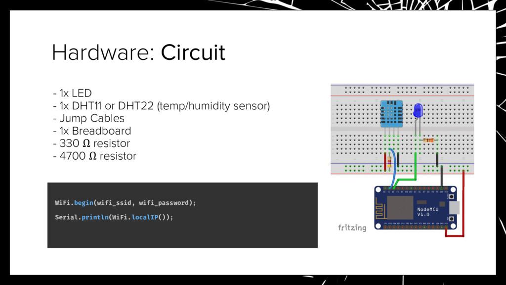 Hardware: Circuit - 1x LED - 1x DHT11 or DHT22 ...
