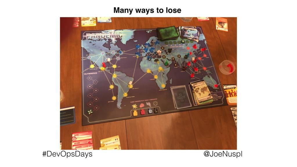 @JoeNuspl #DevOpsDays Many ways to lose
