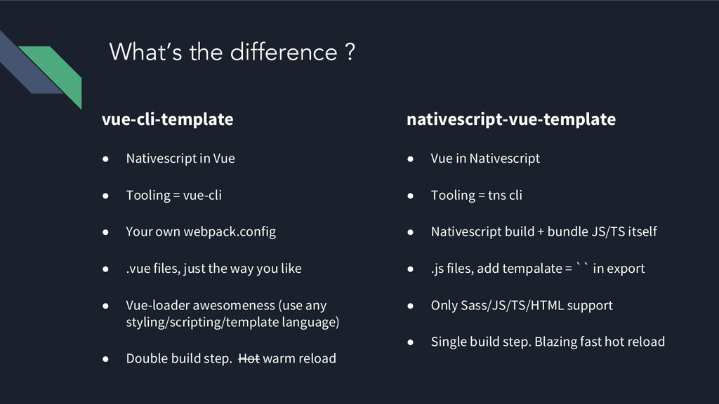 What's the difference ? vue-cli-template ● Nati...