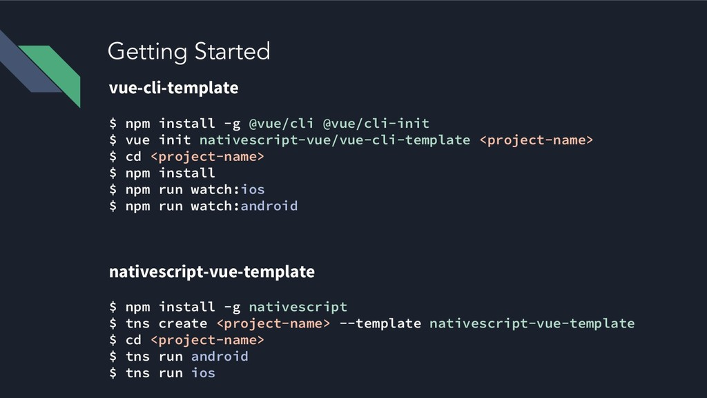 Getting Started vue-cli-template $ npm install ...