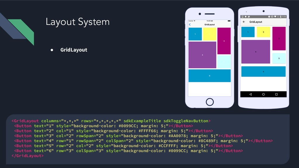 Layout System ● GridLayout <GridLayout columns=...