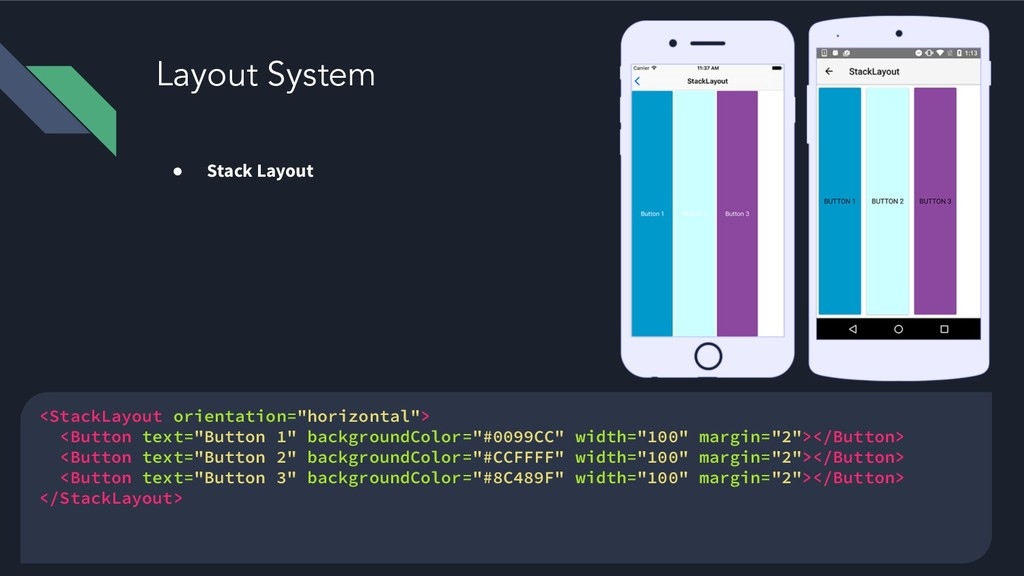 Layout System ● Stack Layout <StackLayout orien...